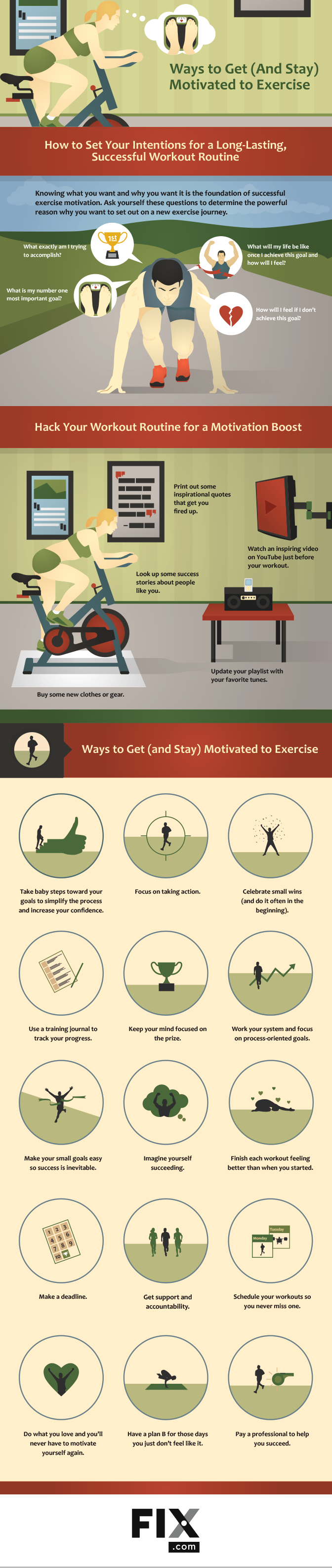 18 Ways to Get and Stay Motivated to Exercise infographic