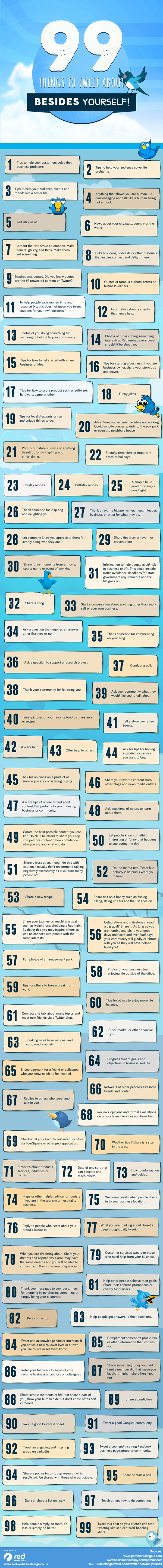 99 Things to Tweet About Besides Yourself infographic