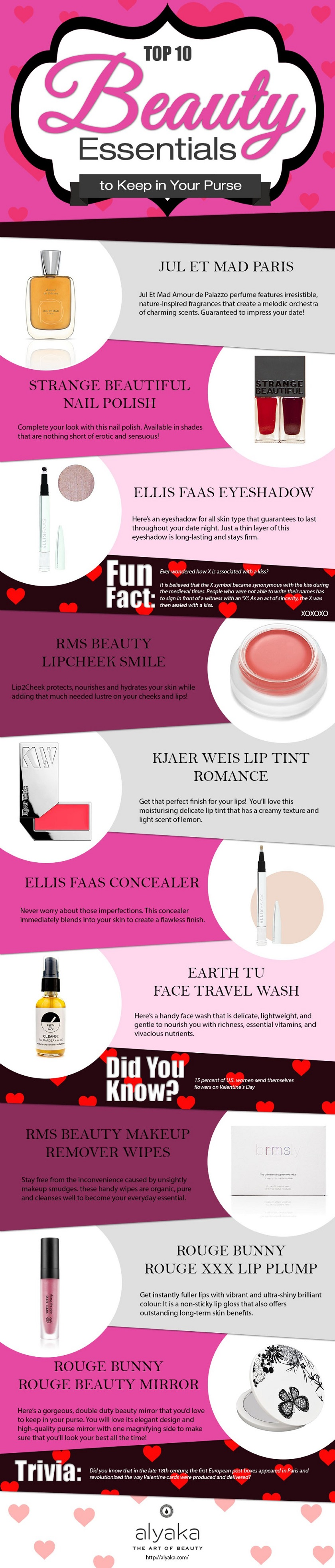 beauty essentials to keep in your purse infographic