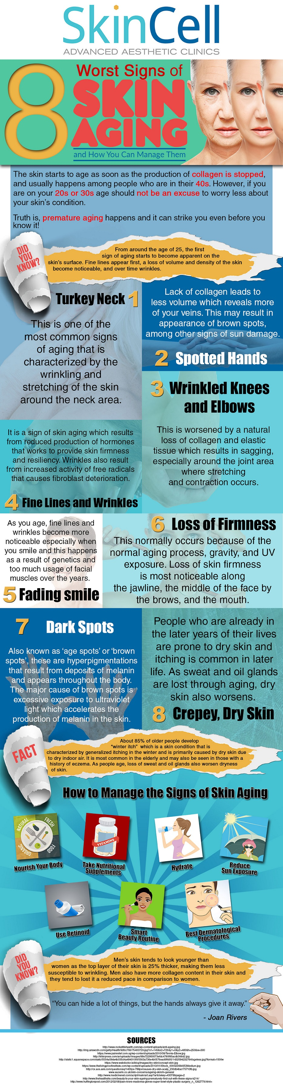 8 worst signs of skin aging infographic
