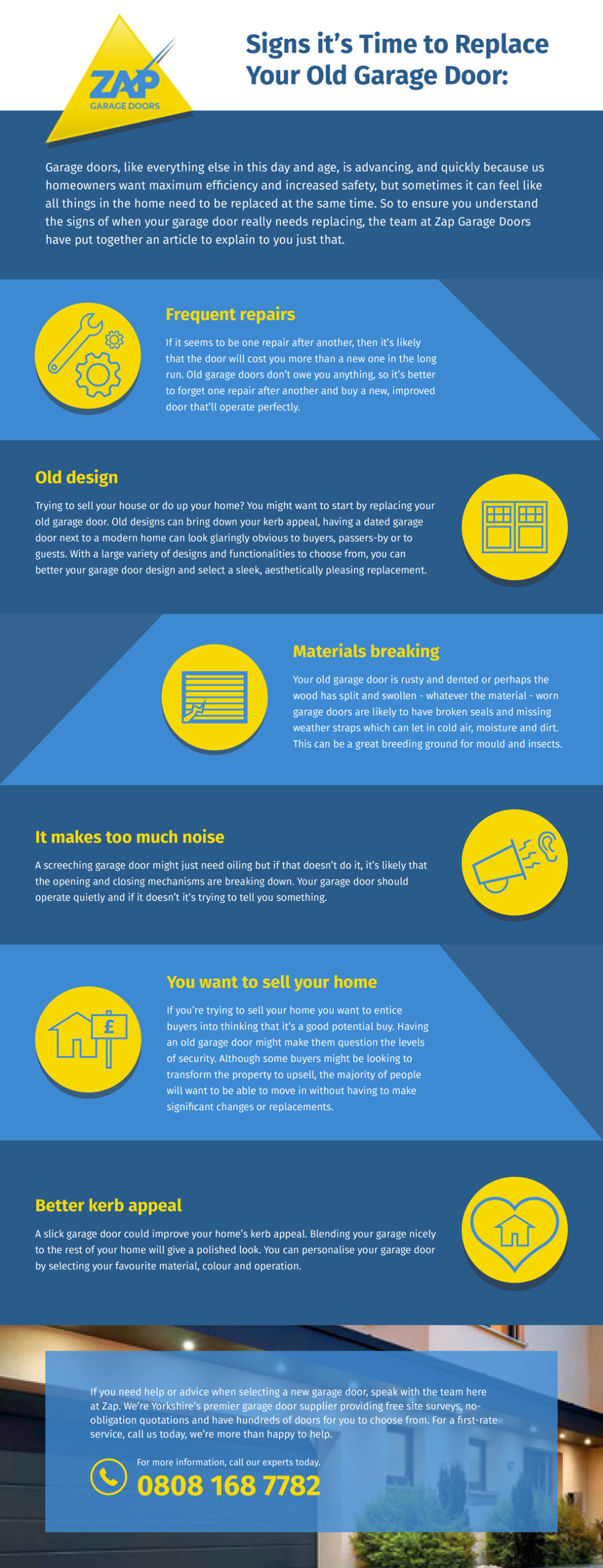 signs it's time to replace your garage door infographic